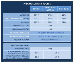 TARIFAS SUMMER HOUSE